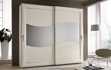 Wardrobe with 2 sliding doors, antique white finish with silver frame edging with Uadi glass.