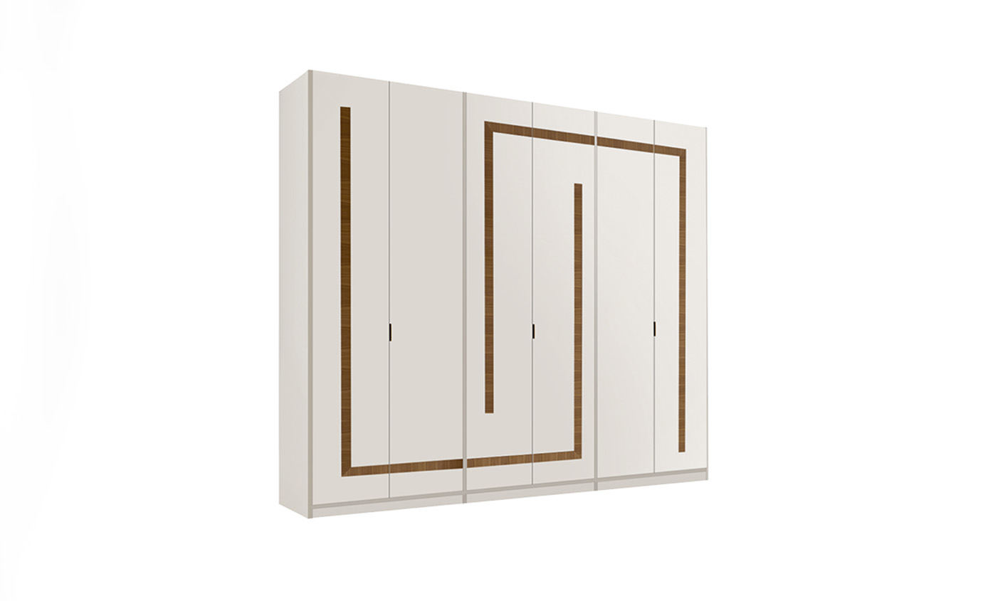 DESIGNER LEONARDO CIAMPI <br> Wardrobe with 6 hinged doors, geometric sections in Canaletto walnut.