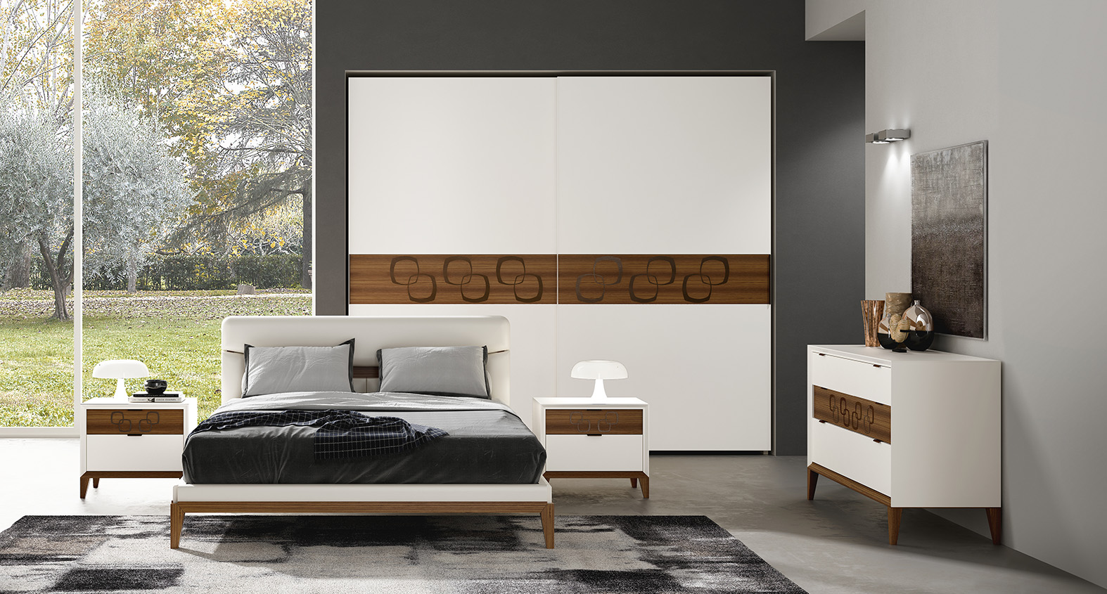 DESIGNER WALTER TURINI <br> Dresser and nightstands with 45° angle milling on the front, lacquered matt white finish (L01), drawer section in Canaletto walnut with bronze coloured metal insert.
